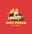 mobile food truck car with pizza vector image