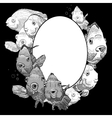 Monochrome frame with fish vector image