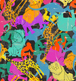 Retro animal silhouettes seamless pattern vector image