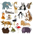 Set of zoo cartoon animals Flat style design vector image