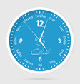 blue dial plate wall clocks face on white vector image