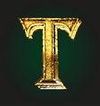 t golden letter vector image vector image