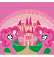Card with a cute unicorns rainbow and fairy-tale vector image