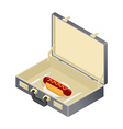 Business lunch hotdog in case Suitcase with fast vector image