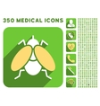 Fly Icon and Medical Longshadow Icon Set vector image