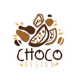 hand drawn original logo design with cocoa beans vector image