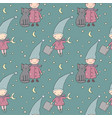 seamless pattern with cute gnome and cat vector image