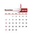 simple calendar 2016 year november month vector image