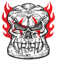 skull sketch design with flame vector image