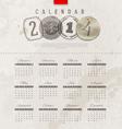 Grunge vintage calendar of 2014 year vector image