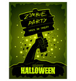 Halloween poster zombies hand and wooden sign vector image