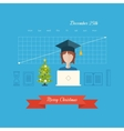 Office worker Christmas greeting card vector image