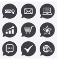 Internet seo icons Star shopping signs vector image