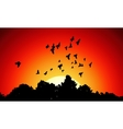 image from black silhouettes of a flock vector image