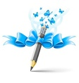Pencil decorated by bow on vector image