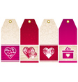 valentines labels with decorative hearts vector image