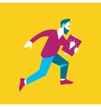 Young businessman running with startup project vector image
