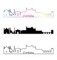 Cordoba skyline linear style with rainbow vector image