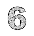 Hand drawn floral alphabet design Digit 6 vector image