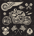 Scratchboard Motorcycle Elements vector image vector image