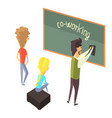 three person with blackboard young people vector image