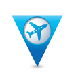 plane icon on map pointer blue vector image vector image