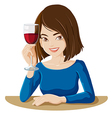 A lady holding a glass of red wine vector image