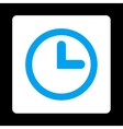 Clock flat blue and white colors rounded button vector image