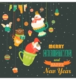 Cute Christmas decorations with Santa snowman vector image