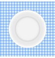 White Plate on a Checkered Tablecloth vector image vector image