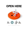 Open here icon in different style vector image