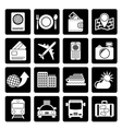 Black travel transportation and vacation icons vector image