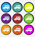 Bus icon sign Nine multi colored round buttons vector image