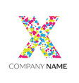 letter x logo with blue yellow red particles vector image