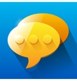 Shiny orange and yellow chat bubble symbols on vector image
