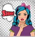 quiet please pop art woman vector image vector image