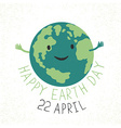 Earth Day Earth smiling and reveals a hug Grunge vector image
