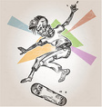 skeleton skater on abstract background vector image