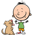 cute boy with dog cartoon vector image