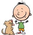 cute boy with dog cartoon vector image