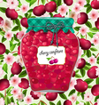seamless texture with preserve cherry vector image