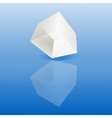 White glass cube on a smooth surface vector image
