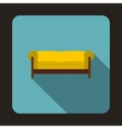 Yellow sofa icon in flat style vector image