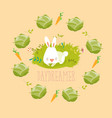Little rabbit dreaming about vegetables vector image