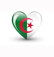 Heart-shaped icon with national flag of Algeria vector image vector image