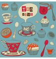 Tea with cakes vector image vector image
