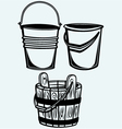 Set of buckets vector image