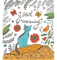 Good morning concept card with cute cat vector image