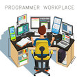 The programmer writes code vector image vector image
