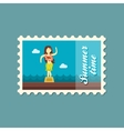 Hula Dancer Statuette stamp Summer Vacation vector image